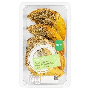 Waitrose Corn Patties, Spiced Vegetables, Lime