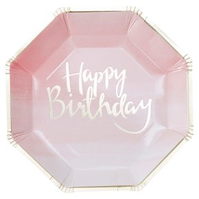 Ginger Ray Happy Birthday Paper Plates Ombre