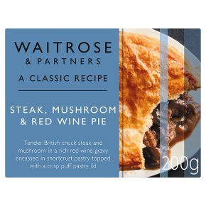 Steak, mushroom & red wine pie