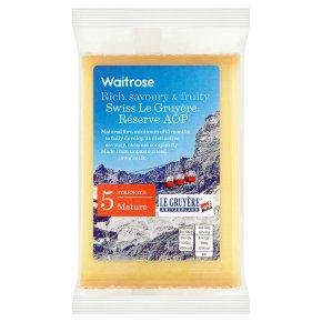 Waitrose Swiss mature Le Gruyère Réserve cheese