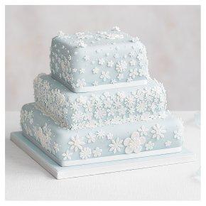 Blossom 3 Tier Pastel Blue Wedding Cake, Fruit (Base tier) & Golden Sponge (top 2 tiers)