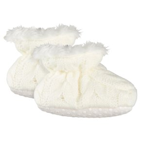 Waitrose Knitted Cream Booties 0-3M