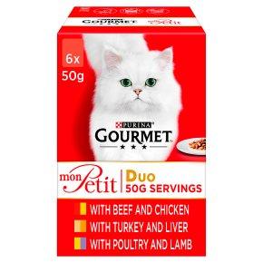 Gourmet Mon Petit Cat Food Pouches Duo Meat
