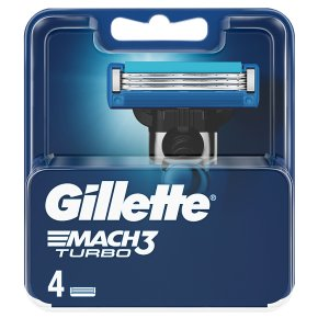 Gillette Mach 3 Turbo Manual Blades 4 countGillette Mach 3 Turbo Manual Razor Blades 4 count