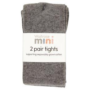 Waitrose 2pk Charcoal tights size: 7-8yrs
