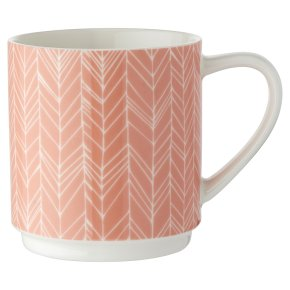 Waitrose Coral Chevron Dash mug