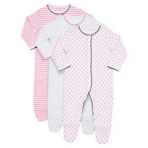 Waitrose 3PK Stars&Stripes S/Suits 9-12M