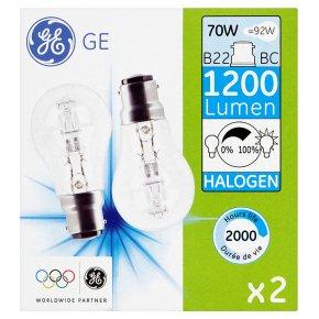 GE halogen 1200 lumen round 70W B22 BC