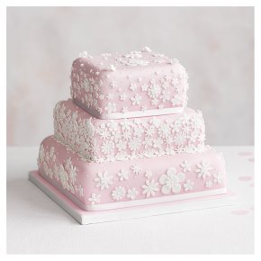 Blossom 3 Tier Pastel Pink Wedding Cake, Fruit (Base tier) & Lemon Sponge (top 2 tiers)