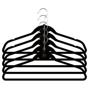 Waitrose black velvet hangers, pack of 5