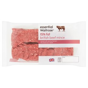 essential Waitrose British beef mince, 15% fat