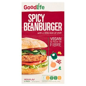 Goodlife Spicy Veg Bean Burgers with a Kick of Chipotle Chilli