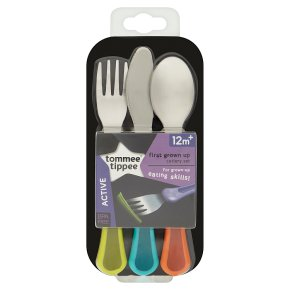 Tommee Tippee 12month+ explora first grown up cuttlery set, assorted