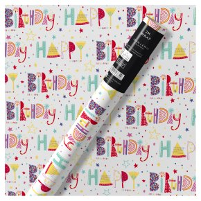 Waitrose Gift Wrap 2M Happy Birthday