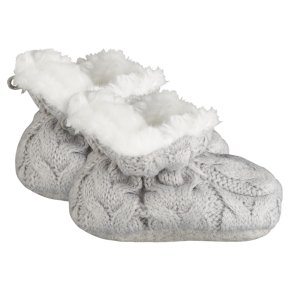 Waitrose Knitted Grey Booties 0-3M