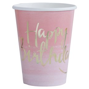 Ginger Ray Happy Birthday Ombre Paper Cups