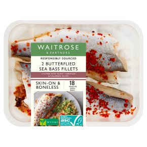 Waitrose boneless sea bass stuffed with slow roast tomatoes & kalamata olive