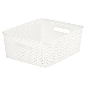 My Style Plastic Off White Rattan Basket