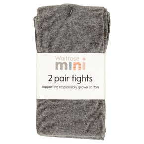 Waitrose 2pk Charcoal tights size: 5-6 yr