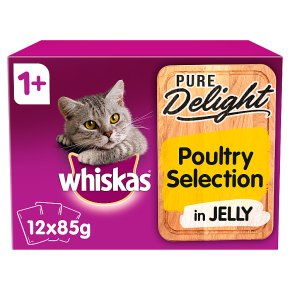 Whiskas Pure Delight Poultry Collection in Jelly Adult 1+ Wet Cat Food Pouches 12 x 85g
