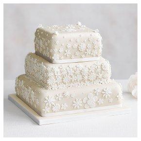 Blossom 3 Tier Ivory Wedding Cake, Fruit (Base tier) & Golden Sponge (top 2 tiers)