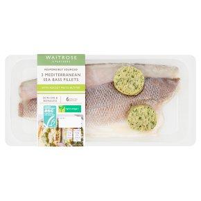 Waitrose sea bass fillets with rocket & pesto butter