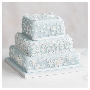 Blossom 3 Tier Pastel Blue Wedding Cake, Fruit (Base tier) & Golden Sponge (Middle) & Chocolate Salted Caramel (top tier)