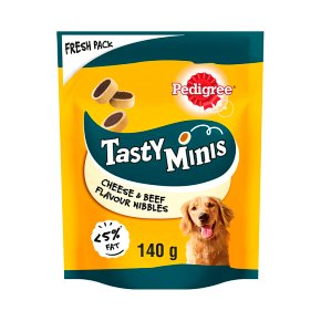 PEDIGREE Tasty Bites Dog Treats Cheesy Nibbles with Cheese and Beef 140g