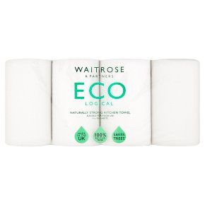 Waitrose recycled kitchen towels white
