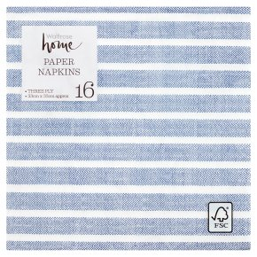 Waitrose Home Blue Stripe Napkins 33x33cm