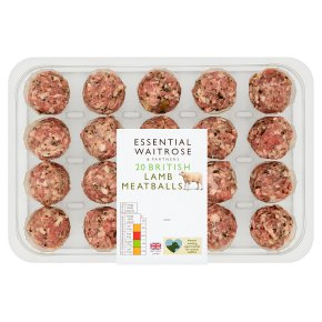essential Waitrose 20 British Gluten Free Lamb Meatballs
