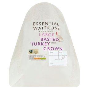 essential Waitrose frozen basted turkey crown large