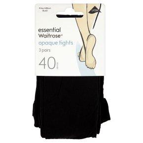 essential Waitrose 40 denier black tights, pack of 3 (small - medium)