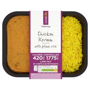 Waitrose LoveLife Calorie Controlled chicken korma & pilau rice