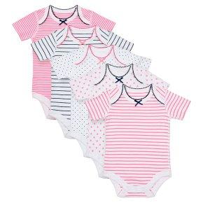Waitrose 5PK Star&Stripe Bodysuits 3-6M