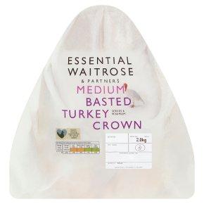 essential Waitrose frozen basted turkey crown medium