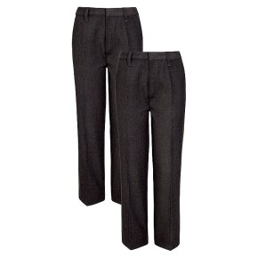 Boys 2 pack basic trousers, grey, 9 years