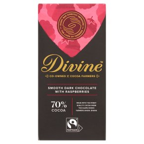Divine Fairtrade dark chocolate with raspberries, 70% cocoa