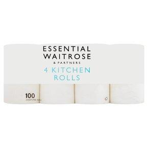 essential Waitrose 4 Kitchen Towels Extra Length Rolls