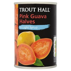 Trout Hall pink guava halves in light syrup