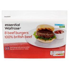 essential Waitrose 8 Beef Burgers 100% British Beef