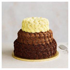 Triple Chocolate Heaven 3 Tier Wedding Cake, Dark Chocolate (base tier), Milk (middle tier), White (top tier)