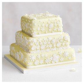 Blossom 3 Tier Pastel Yellow Wedding Cake, Lemon sponge (all tiers)