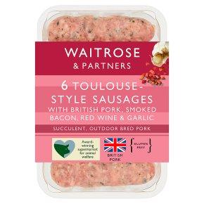 Waitrose 6 British Pork Toulouse Style Sausages