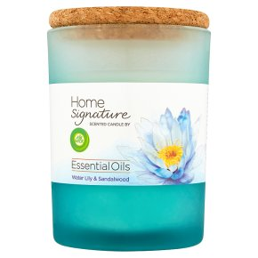 AirWick Air Freshener Home Signature Essential Oils Scented Candle Water Lily and Sandalwood