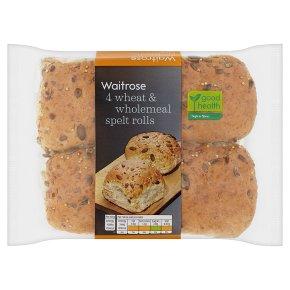 Waitrose LoveLife wheat & wholemeal spelt rolls