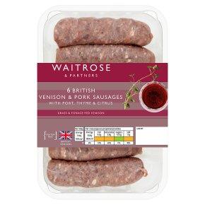 Waitrose 6 Venison & Pork Sausages Port, Thyme & Citrus