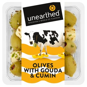 Unearthed olives with gouda and cumin