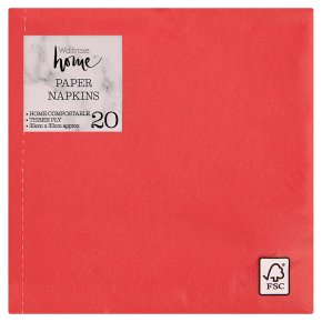 Waitrose Home 33cm red napkins, pack of 20