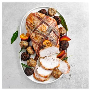 Butter Basted Turkey Breast with a Bacon Lattice & Mixed Stuffing Balls